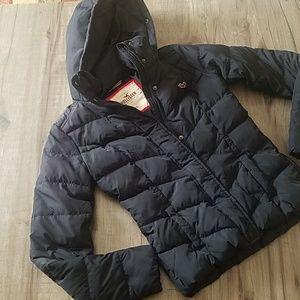 Hollister navy puffer coat